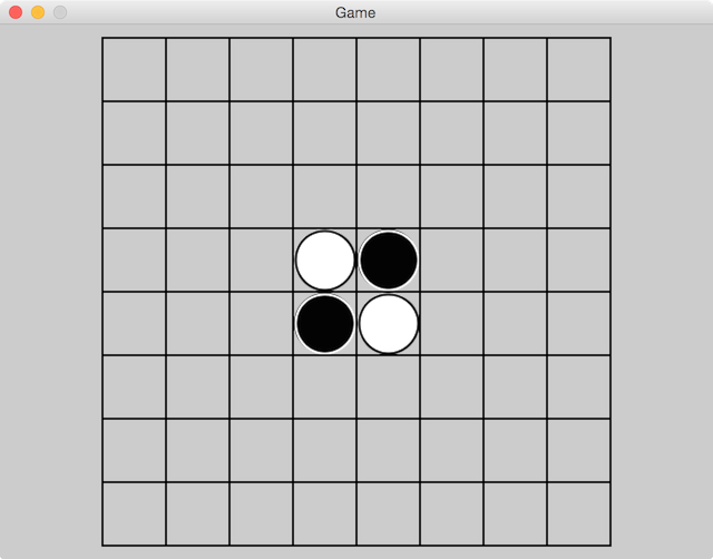 Reversi board with pieces