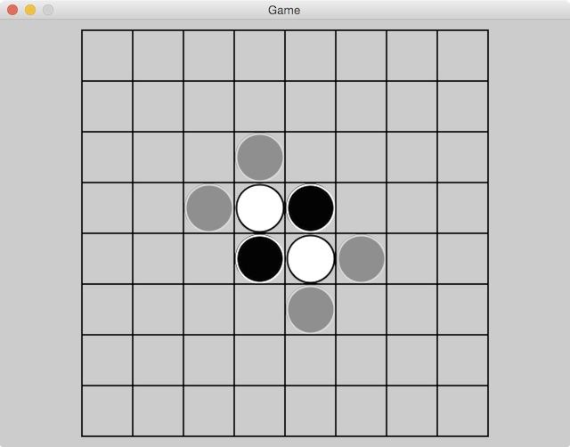 Reversi board with potential plays
